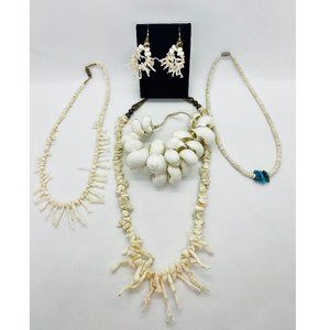 White Coral Necklaces w/ Earrings & Bracelet